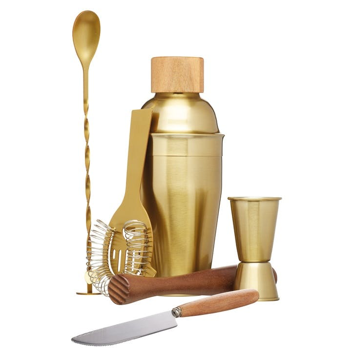 Brass Six Piece Cocktail Set