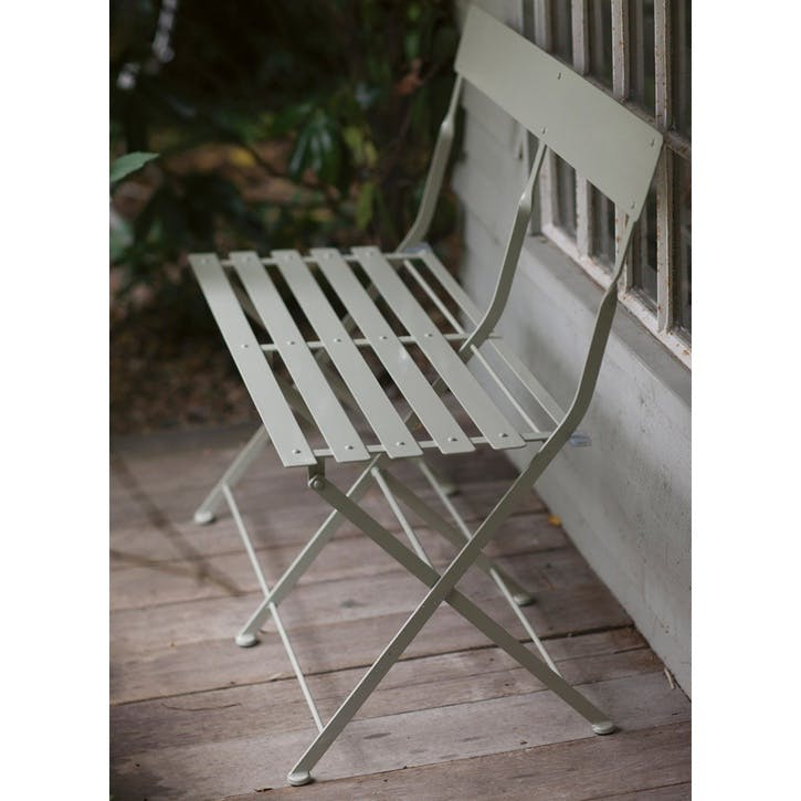 Folding Bistro Bench in Clay, Steel