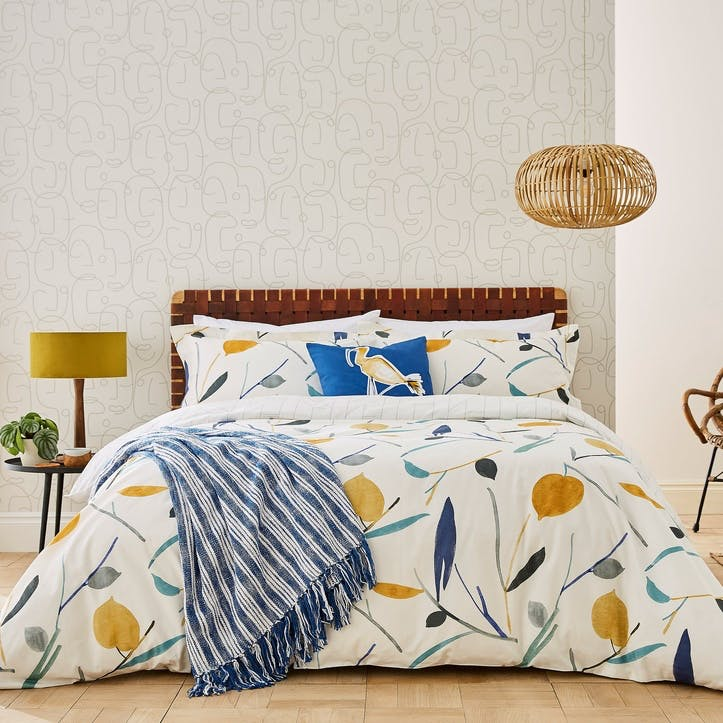 Oxalis King Duvet Cover Set, Papaya & Honey