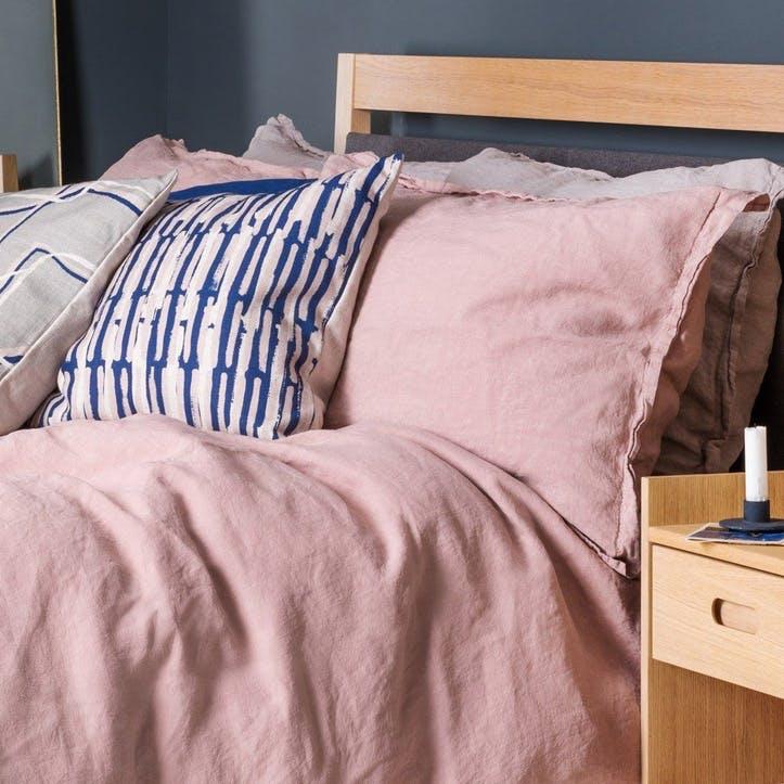 Washed Linen - Double Duvet Cover; Dusky Pink