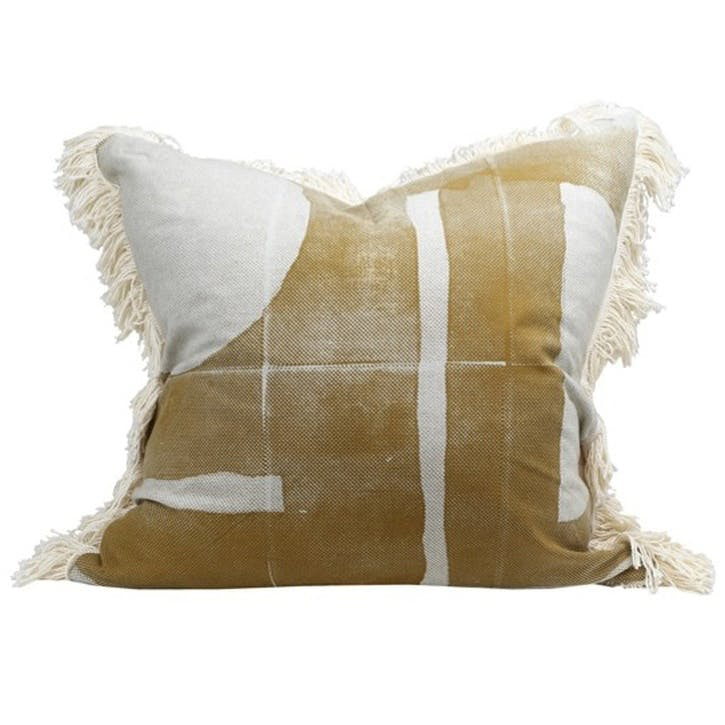 Preston Print Cushion, Mustard