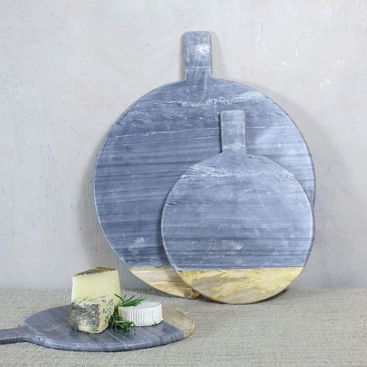 Bwari Round Marble Board - Small; Grey