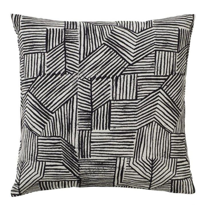 Lino Woven Square Cushion, Black & White