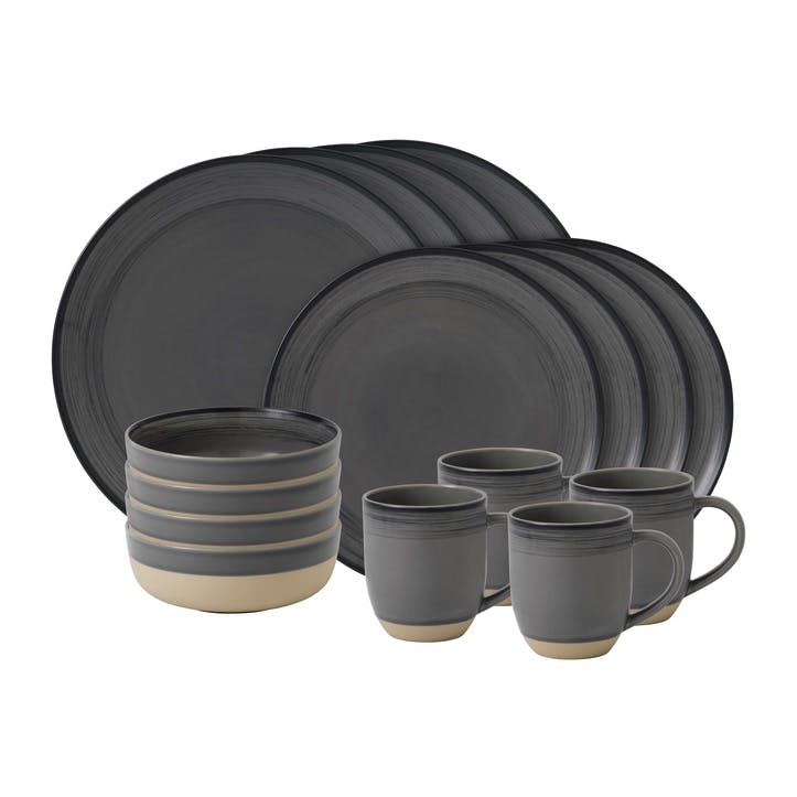 ED Ellen DeGeneres Brushed Glaze 16 Piece Dinner Set, Charcoal Grey