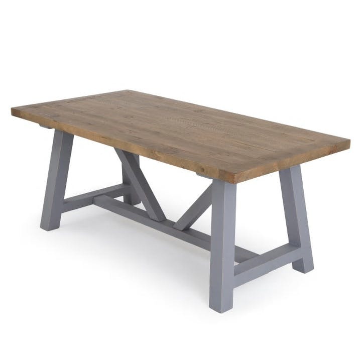 Iona Dining Table; Solid Pine/ Pebble Grey