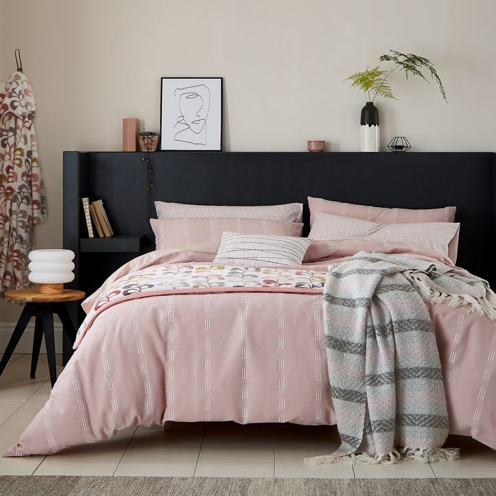 Chambray King Bedding Set, Blush