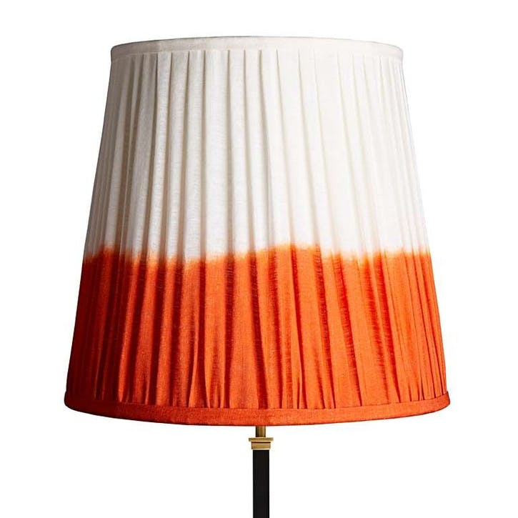 Tall Tapered Shade, 40cm, Orange Shibori Linen