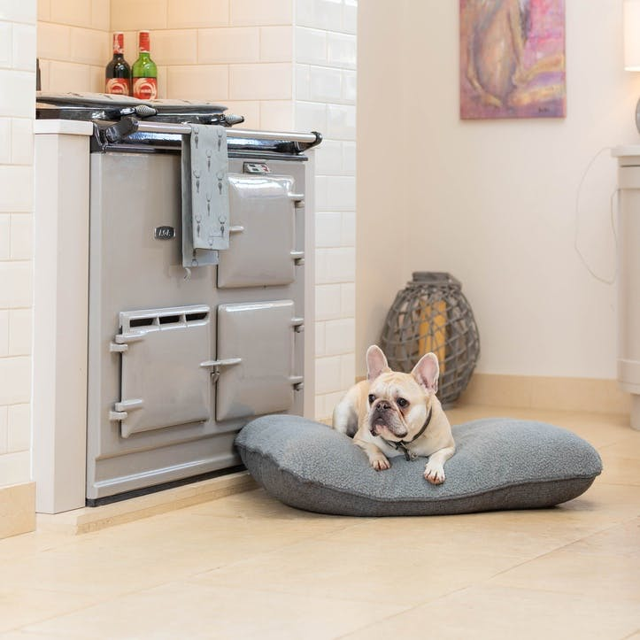 Herringbone Tweed Cushion, M/L, Grey