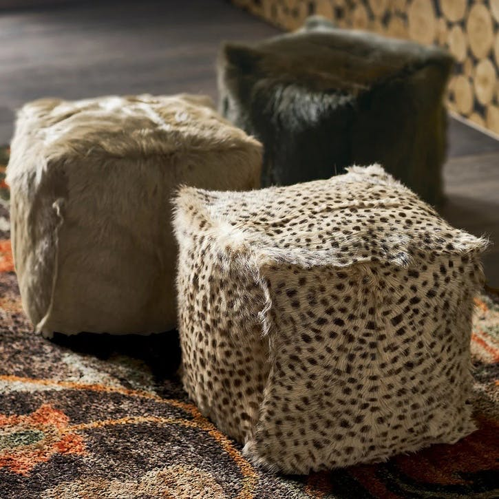 Chyangra Goat Hair Floor Cushion, Cheetah