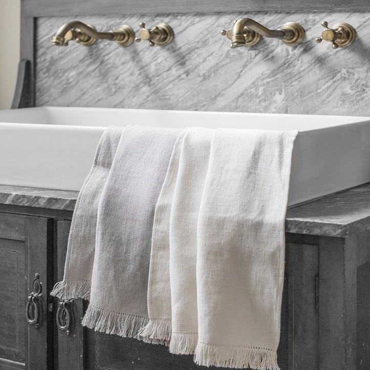 Motte Fringe Hand Towel, Pale Grey