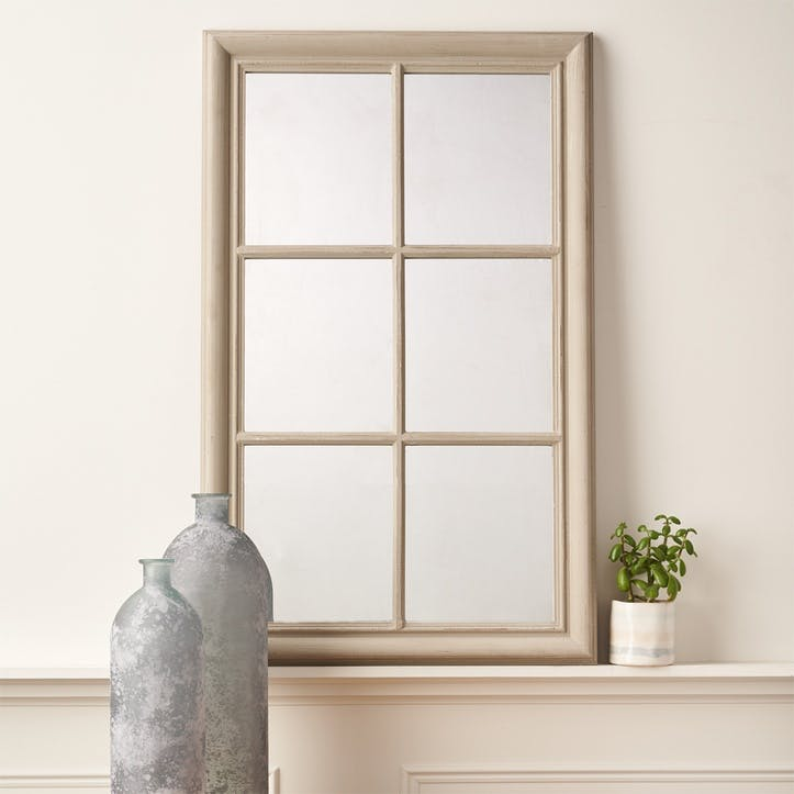 Panelled Window Mirror; Grey