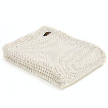 Knitted Alpaca Throw; Cream