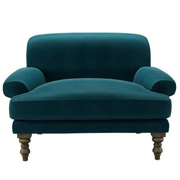Saturday Love Seat, Deep Turquoise Cotton Matt Velvet