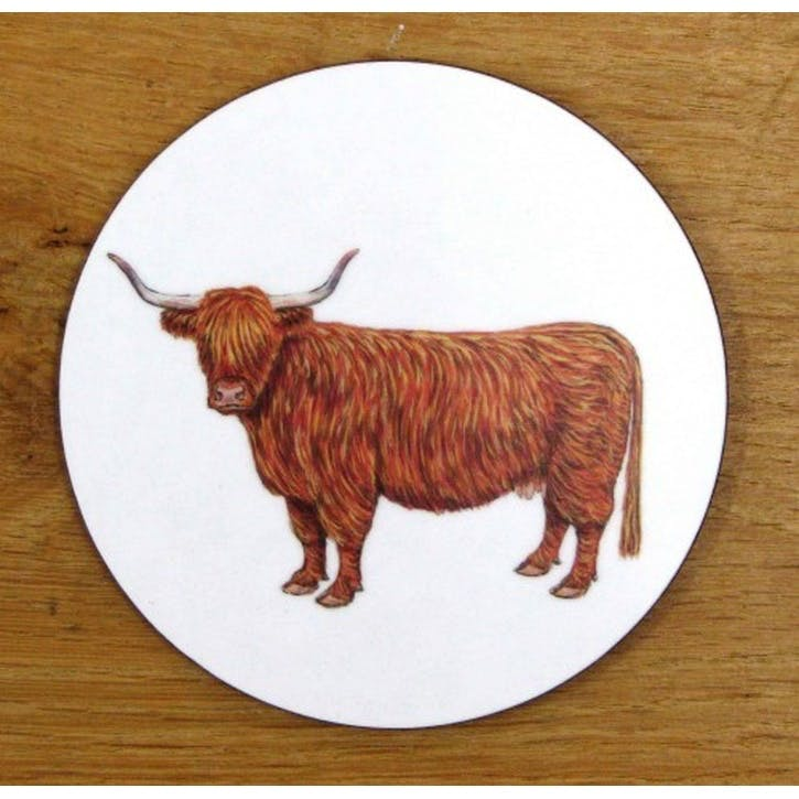 Highland Cow Coaster - 10cm