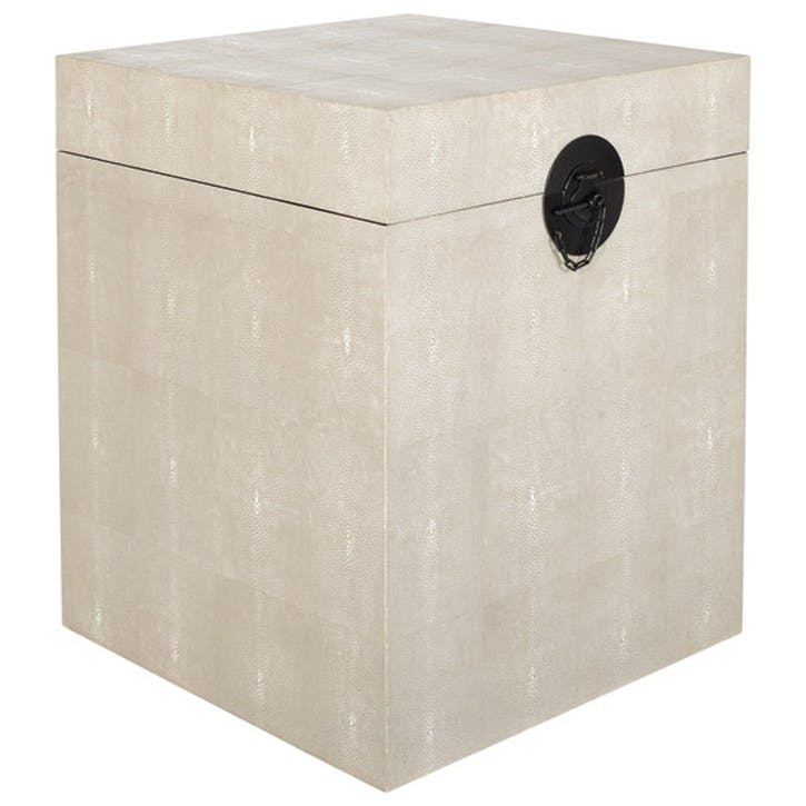 Faux Shagreen Bedside Trunk, Taupe