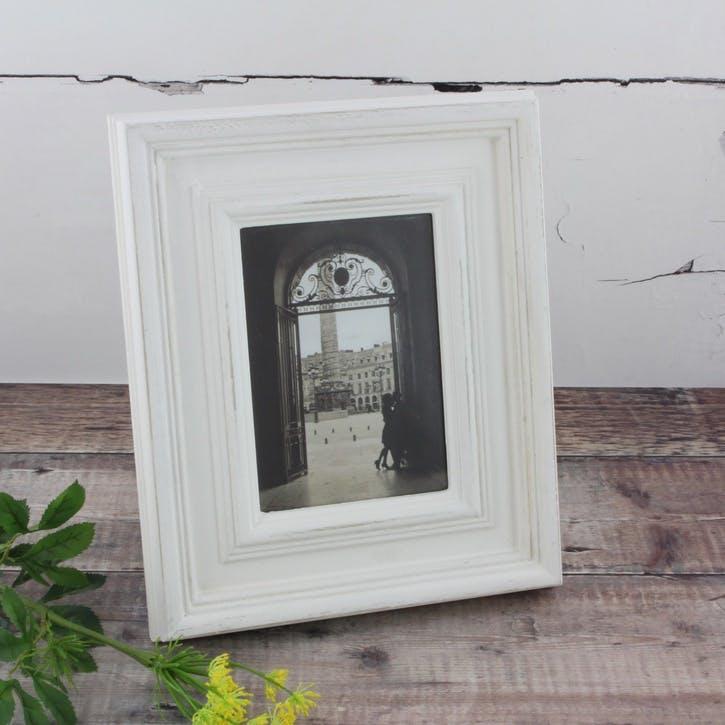 Antiqued Wooden Photo Frame - Large; White