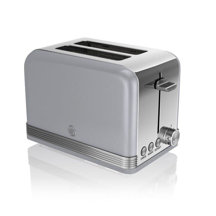 Retro 2-Slice Toaster, Grey