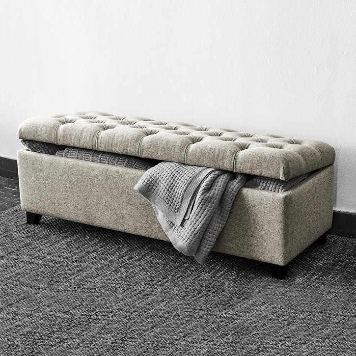 Richmond Wool Ottoman, Light Grey