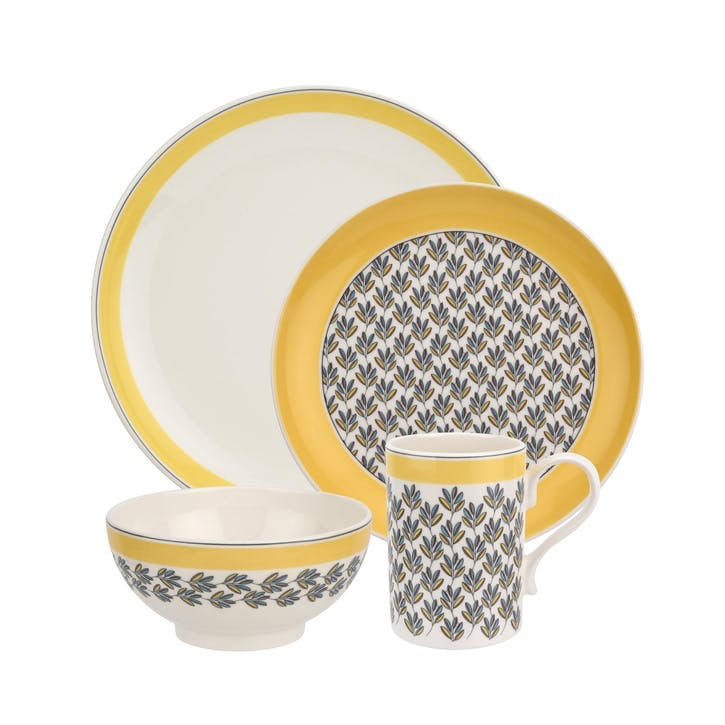 Westerly Four Piece Dinnerware Set; Yellow Band