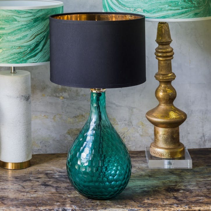 Sea Green Honeycomb Glass Lamp