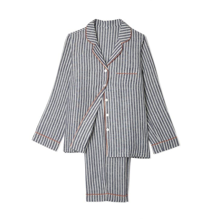 Midnight Stripe Linen Pyjama Set, Small