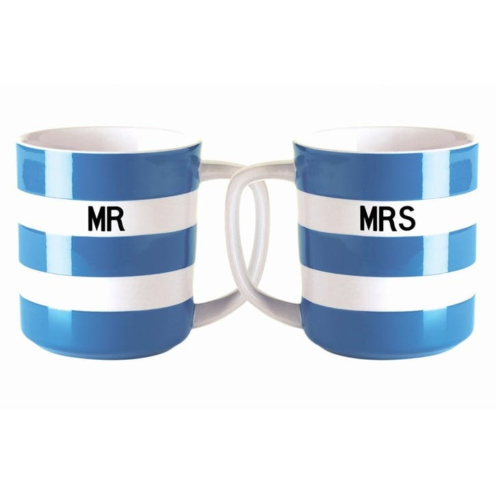 Cornish Blue 'Mr & Mrs' Mugs, 10oz
