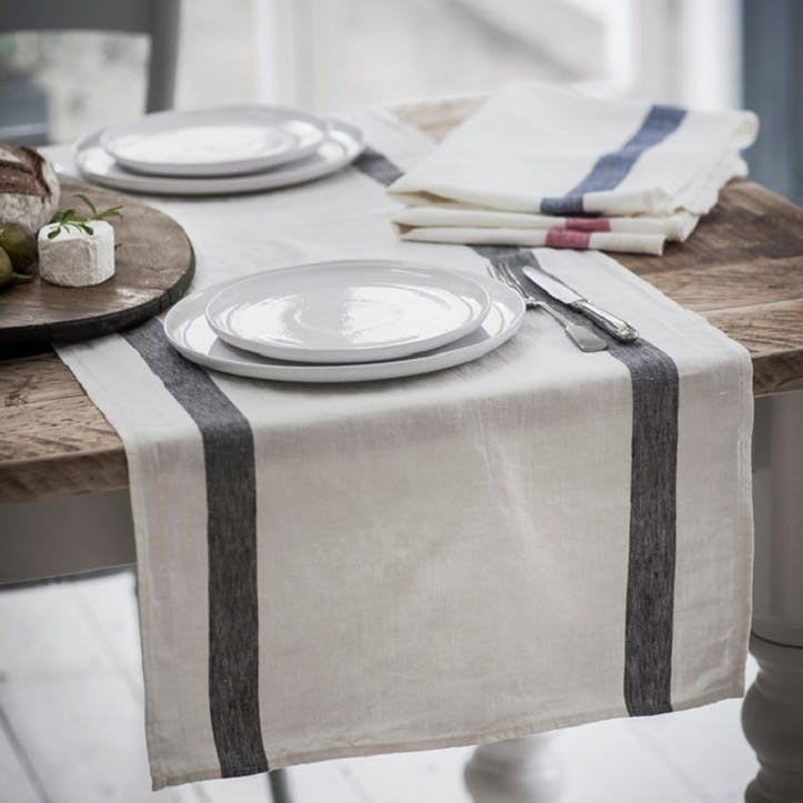 Arles Table Runner, Charcoal Stripe, 47 x 140cm