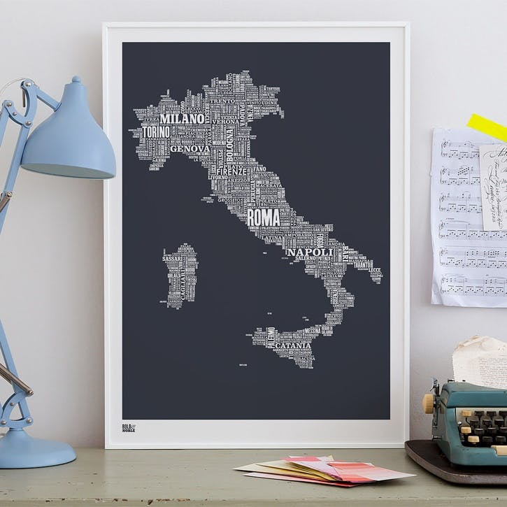 Type Map Screen Print Italy, 50cm x 70cm, Sheer Slate