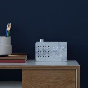 Radio Click Clock Marble Effect/ White LED, 18cm