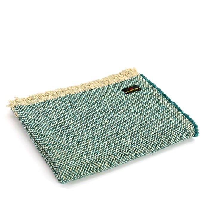 Crosshatch Check Recycled Rug; Jade