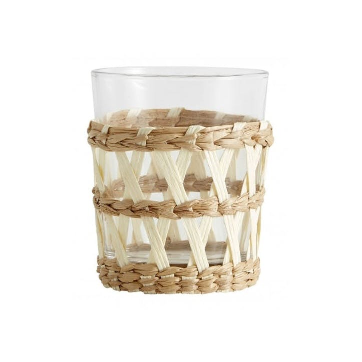 Natural Seagrass Tumblers, White, Set of 6