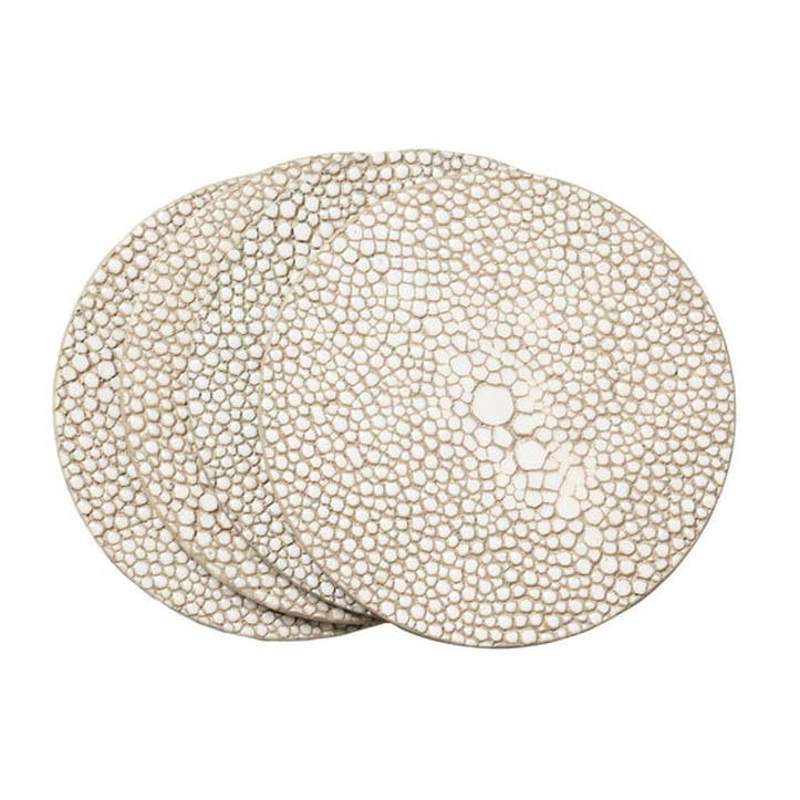Faux Shagreen Set of 4 Coasters, Taupe
