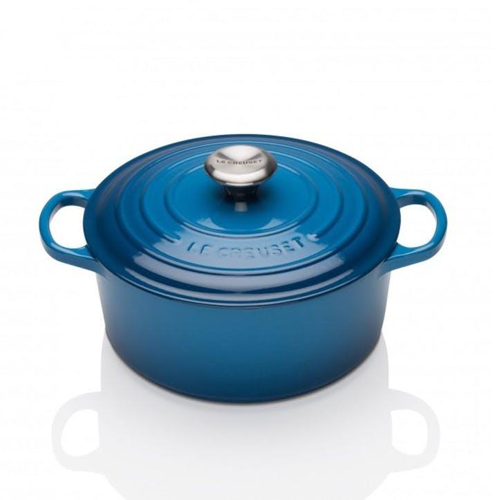 Cast Iron Round Casserole - 24cm; Marseille Blue