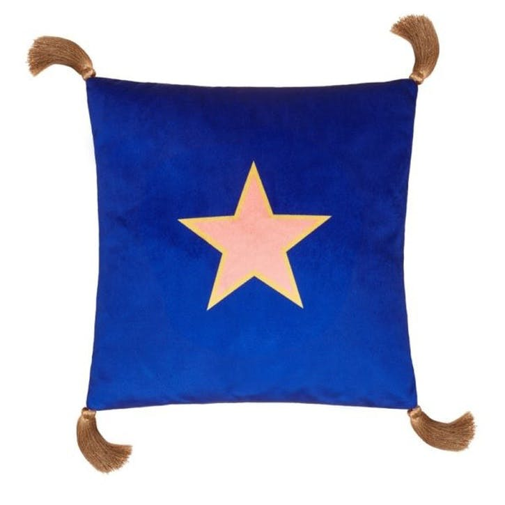 Lone Star Velvet Cushion, Cobalt Blue