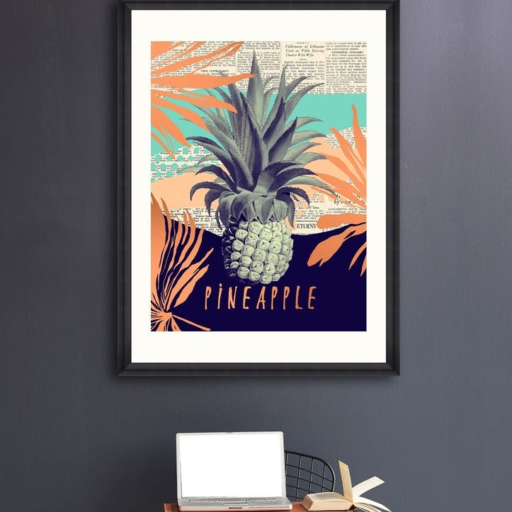 Be Pineapple Black Framed Print, 70 x 100cm