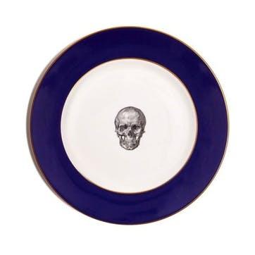 Rock and Roll Skull Dinner Plate, Cobalt Blue