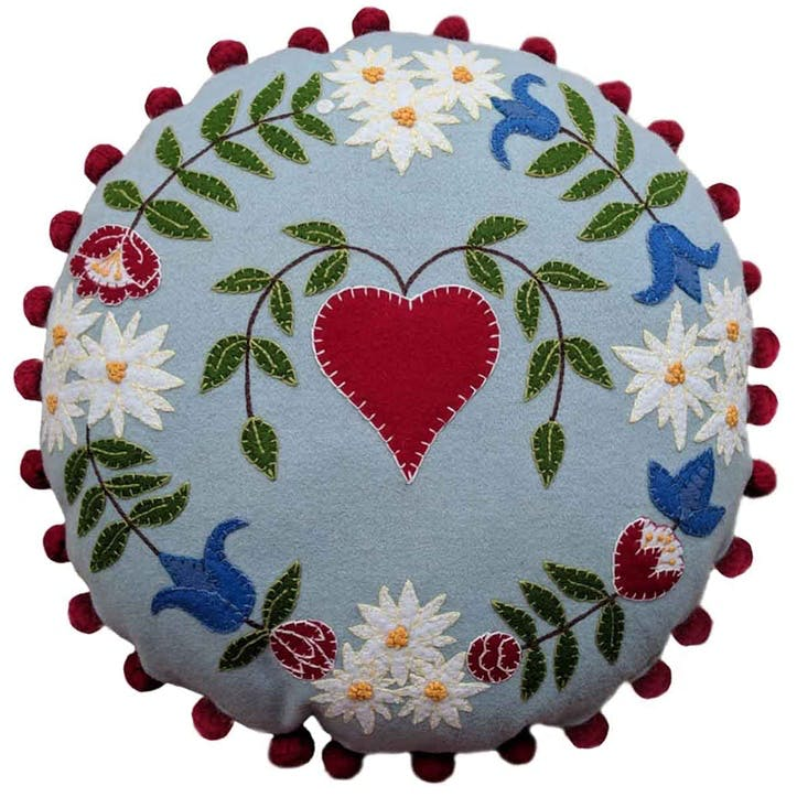 Alpine Heart Round Cushion, 46 x 46cm, Duck Egg Blue