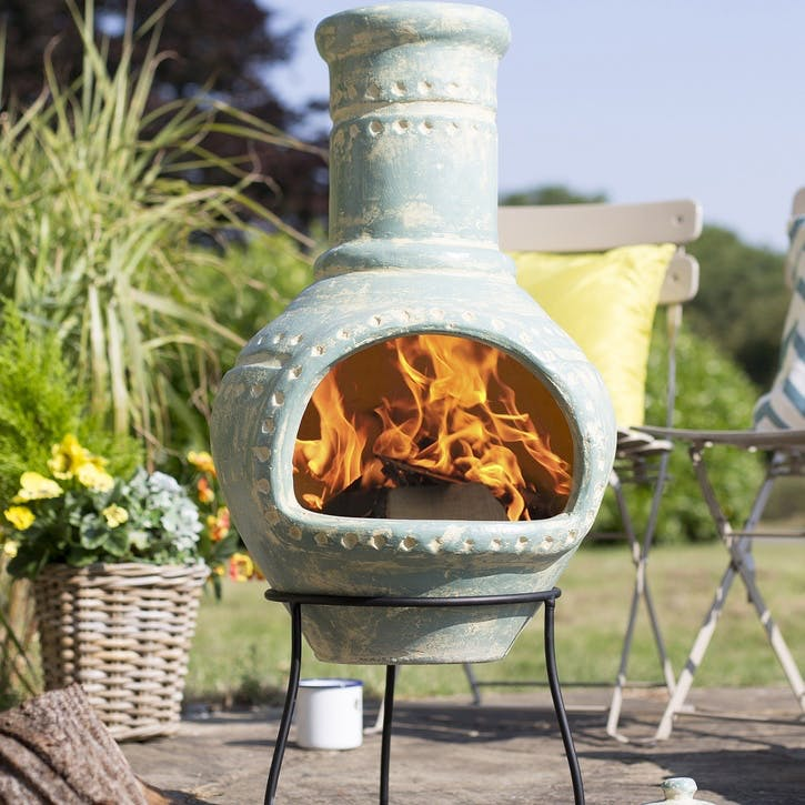 Lumbre Clay Chimenea, Blue Aqua
