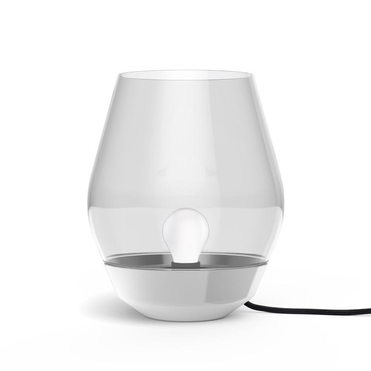 Bowl, Table Lamp, D27cm, Stainless Steel with Smoked Glass