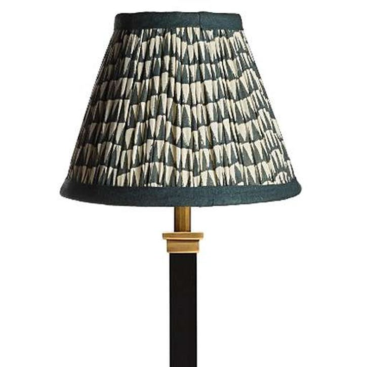 Empire Gathered Lampshade, Savannah Block Printed Cotton,  16cm