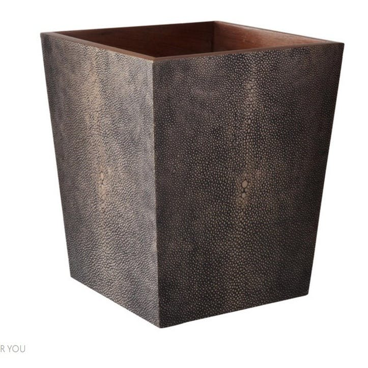 Faux Shagreen Wastepaper Bin, Mole Brown