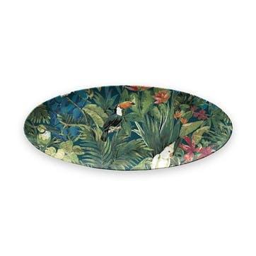 Lush Jungle Foliage Melamine Oval Platter, 61 cm