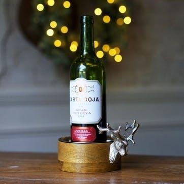 Huntsman Stag Head Wooden Bottle Coaster