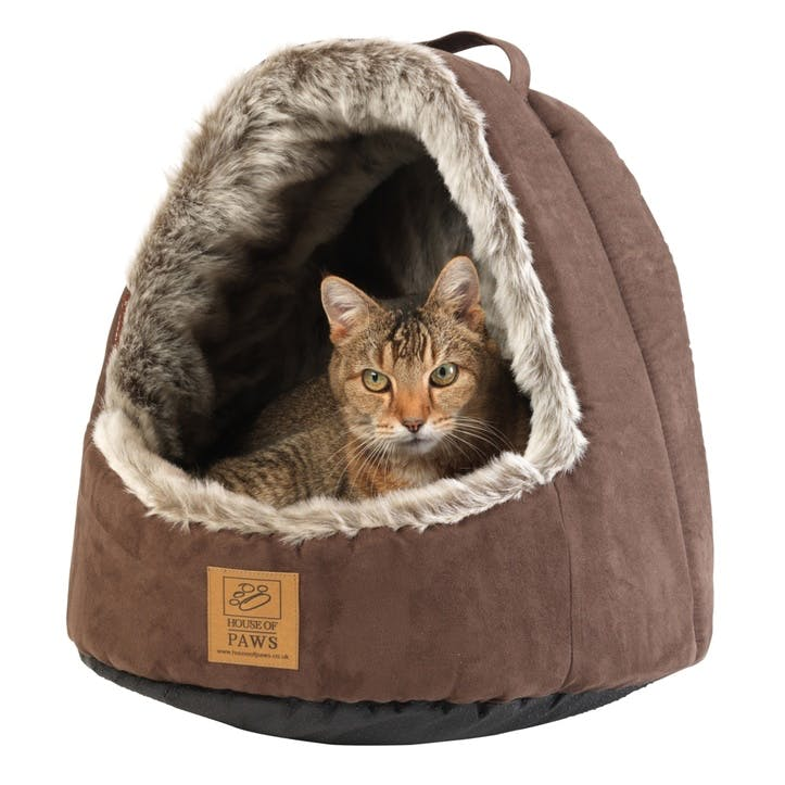 Hooded Arctic Fox Cat Bed