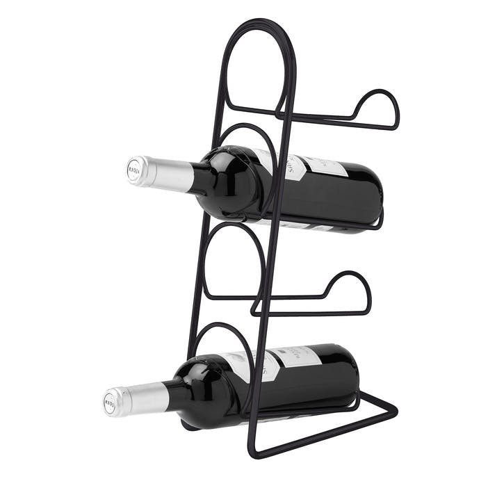 Pisa 4 Bottle Wine Rack, Satin Black