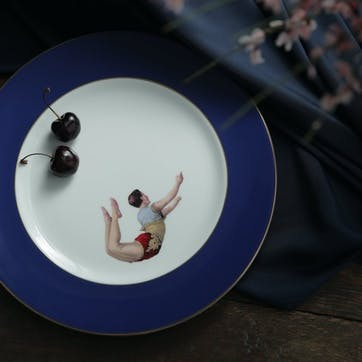 Acts Of Daring Trapeze Boy Dinner Plate, Cobalt Blue
