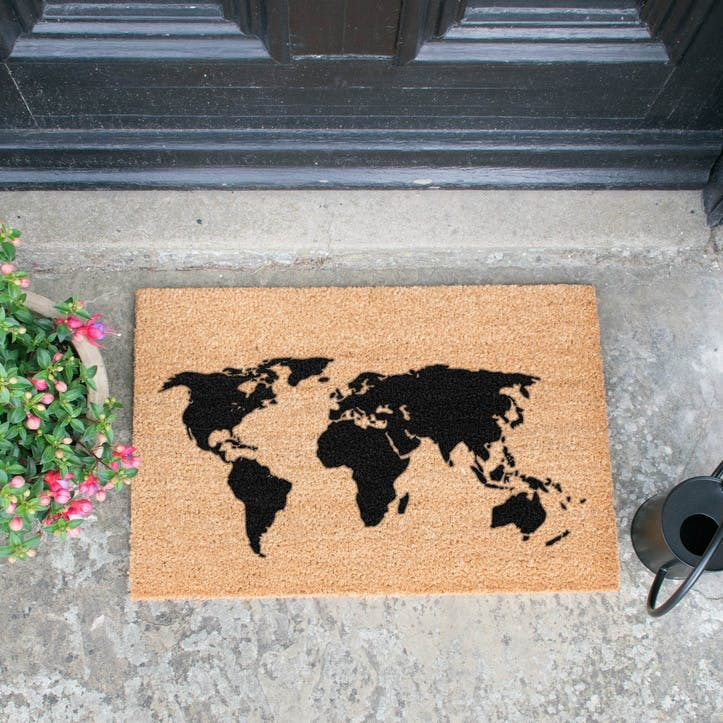 World Map Doormat, Black