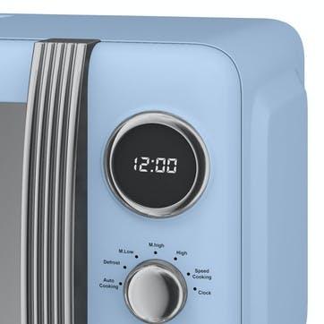 Retro 800W Digital Microwave, Blue