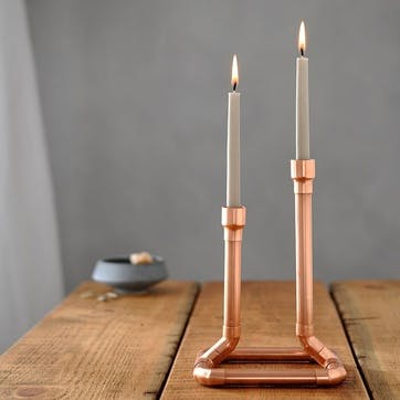 Industrial Copper Candle Holder - 21.5cm; Copper
