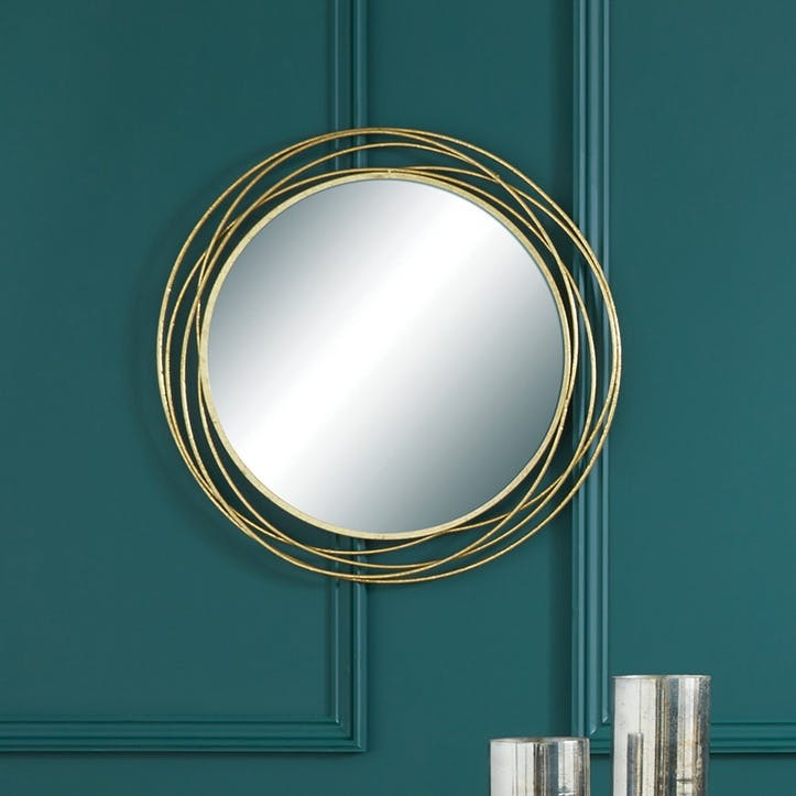 Round Deco Wall Mirror, Antique Gold